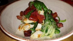 Chicken, chorizo & sundried tomatoes atop zucchini spaghetti